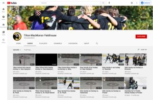 Screenshot of the Tilton School MacMorran Fieldhouse athletics streaming channel on Youtube